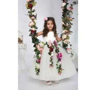 Rochita cu tiul still tutu si flori mari Printesa Florilor Margaret