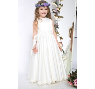 Extensible & adjustable long girls' dress Princess White Swan