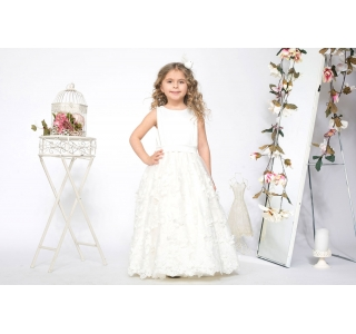 Extensible & adjustable long girls' dress with embroidery Princess Butterfly