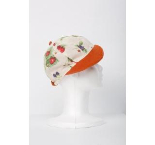 Sapca fete cu imprimeu cu fructe si cozoroc de catifea Summer