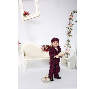 Extensible and reversible boys coat with check pattern Anthony