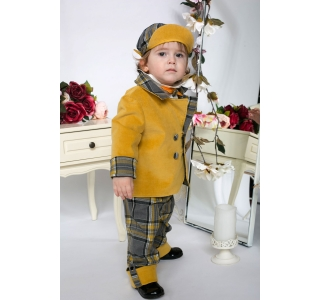Extensible and reversible baptism boys coat with check pattern and velvet William