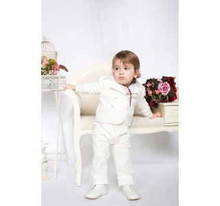 Extensible and reversible baptism boys coat with corduroy Tom