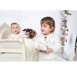 Sacou botez baieti reversibil (cu 2 fete) cu raiat Tom