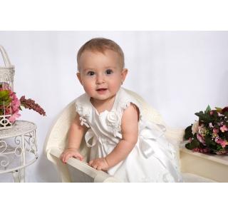 Rochita botez ortodox cu floricele brodate Amalia