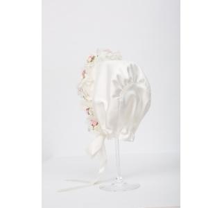 Boneta botez eleganta cu floricele Corina