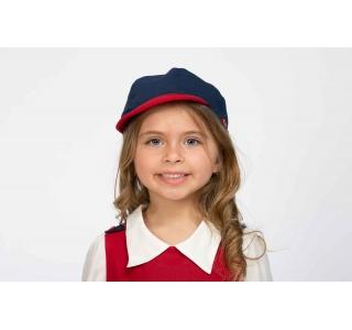 Șapcă uniformă școlară unisex, Albastru/Roșu