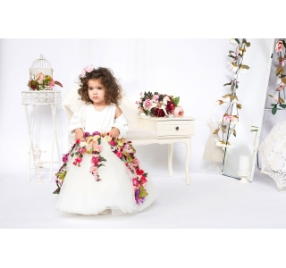 Rochita cu tiul still tutu si floricele Printesa Sofia