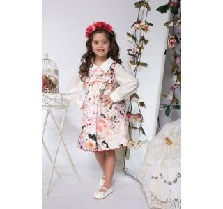Extensible & revrsible dress for girls, sarafan Maria flowers