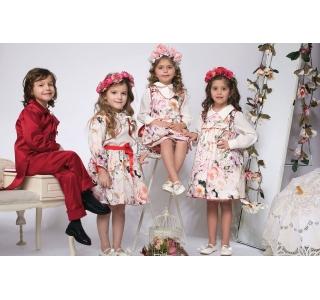 Rochie fete extensibila cu 2 fete tip sarafan Maria cu flori