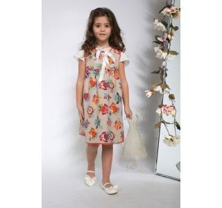 Extensible & reversible dress for girls, sarafan Maria orange velvet & owl pattern