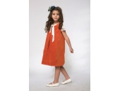 Rochie fetite extensibila cu 2 fete tip sarafan Maria cu catifea portocalie si imprimeu cu bufnite