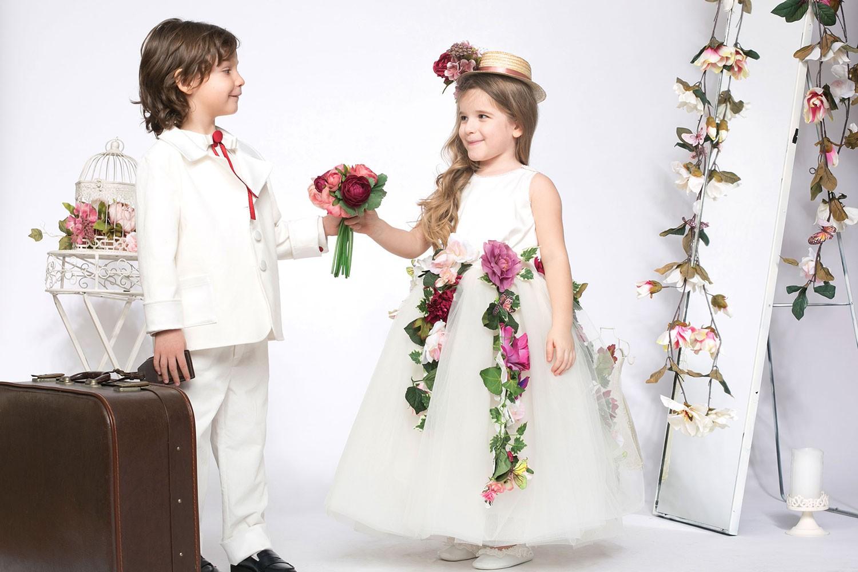 Palarie canotier pentru fetite cu panglica si flori handmade Iris
