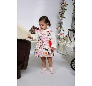 Extensible & reversible dress for girls, sarafan Sofia flowers